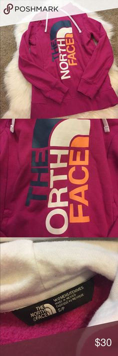 pink trivert north face hoodie size S pretty pink north face pullover hoodie size S. great condition. has a pocket in the front. The North Face Tops Sweatshirts & Hoodies