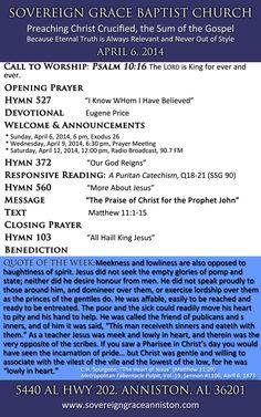 April 6 at Sovereign Grace Baptist Church