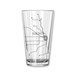 Chicago Line Map Pint Glass in Black