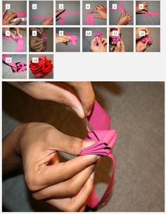 How to make a ribbon flower.
