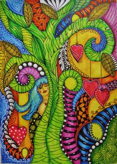 colorful doodle drawing; inktense pencils