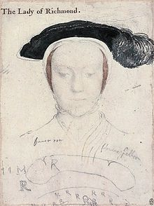 Mary FitzRoy, Duchess of Richmond and Somerset formerly Lady Mary Howard,The only Daughter-in-law to King Henry VIII and Daughter to Thomas Howard, 3rd Duke of Norfolk. She was first cousin to Queen Anne Boleyn.