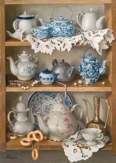 Pretty collection of teapots and teacups. Decoration Shabby, Art Carte, Country Art, Decoupage Paper, Cross Paintings, Cross Stitch Kits, Kitchen Art, Diy Painting, Tea Set