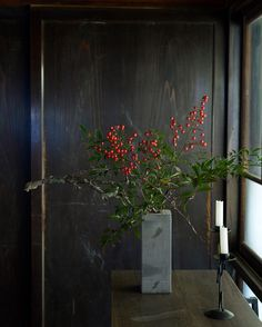 Heavenly bamboo : Nanten 南天 (364/366)  This was the house of my friend last Sunday. I arranged Nanten which I cut from his garden.  The red berries of Nanten is New Year's decorations for good luck.  There is a few remaining this year. Enjoy your days, dear my friend!