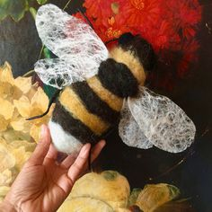 The hand felted bumble bee textile art. Save our bees home decor in black and gold natural wools with felted lace wings and wired legs. Soft Sculpture, Textile Art, Wearable Art, Bees, Trending Outfits, Unique Jewelry, Handmade Gifts, Wings, Etsy Seller