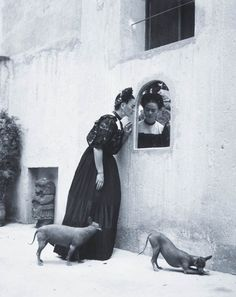 Frida Kahlo and her Xoloitzcuintli dogs, Photo by Lola Alvarez Bravo. Frida Kahlo and her Xoloitzcuintli dogs, Photo by Lola Alvarez Bravo. Diego Rivera, Black White Photos, Black And White Photography, Frida E Diego, Hairless Dog, Mexican Artists, Spanish Artists, Psychedelic Art, Art Plastique