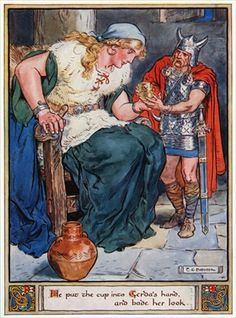 'He put the cup into Gerda's hand, and bade her look', illustration from 'The Heroes of Asgard, tales from Scandinavian Mythology', by A & E Keary, 1930 (colour litho)
