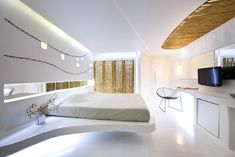 The Andronikos Hotel in Mykonos, Greece has been redesigned in a modern futuristic interior design. Sexy, elegant and stylish touch. Modern Bedroom Design, Room Interior Design, Interior Exterior, Bed Design, House Design, Design Hotel, Futuristic Bedroom, Futuristic Interior, Futuristic Design