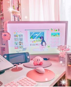 Cute Room Ideas, Cute Room Decor, Room Ideias, Gaming Room Setup, Pc Setup, Kawaii Bedroom, Pastel Room, Game Room Design, Decorating Rooms
