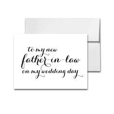 Wedding Card Elegant Black and White - To My New Father in Law On My Wedding Day - Instant Download Printable