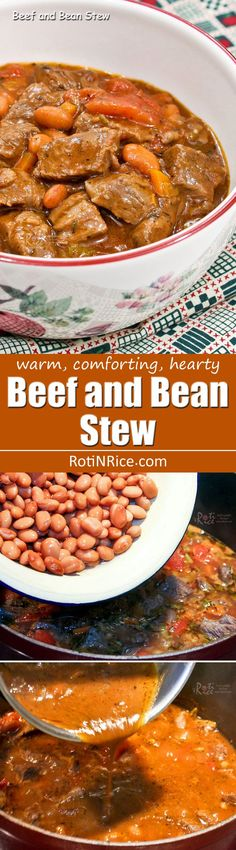 Warm, comforting, and hearty Beef and Bean Stew sweetened with apple juice. This tasty dish is the perfect antidote for cold evenings.   http://RotiNRice.com