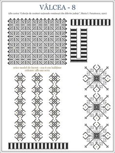 Semne Cusute: iie din OLTENIA, Valcea Folk Embroidery, Embroidery Patterns, Cross Stitch Borders, Cross Stitch Patterns, Palestinian Embroidery, Hama Beads, Creative Inspiration, Beading Patterns, Pixel Art