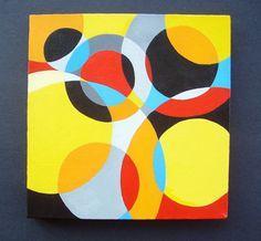 ON SALE Bauhaus Circles Original Abstract Painting Modern Retro