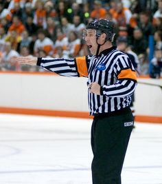 One of our Referee friends working an RIT Hockey game. Hockey Games, Ice Hockey, Referee, Friends, Amigos, Boyfriends, Hockey Puck, Hockey