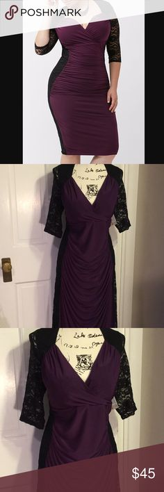 New Kiyonna Valentina 3x bodycon lace plum dress NWT Kiyonna dress with black lace down back sides and arms., and deep purple, or plum down front. Sweetheart neckline. Stretch fabric. Beautiful pleating to show off curves. Kiyonna Dresses