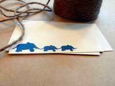 Three Elephants in a Row  Mini Note Cards set of by ToodlesNoodles, $12.00