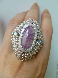 Купить Кольцо с родингитом - сиреневый, сиреневый камень, лавандовый цвет, натуральный камень, родингит