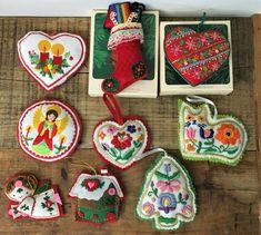 VTG Lot of 9 Hand Embroidered Felt Christmas Ornaments Heart Stocking Cat Angel #Christmas