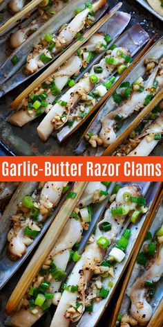 Razor Clams -Garlic Butter Razor Clams - Brown Butter Garlic Honey Roasted Carrots - BEST roasted carrots ever. This side dish is best for dinner every day. 5 mins active time to make Best Razor Clam Recipe, Razor Clams Recipe, Appetizers For A Crowd, Seafood Appetizers, Seafood Dinner, Clam Recipes, Seafood Recipes, Asian Recipes, Recipes Dinner