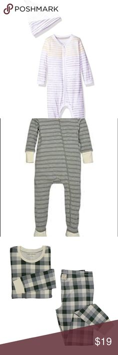Bundle Burt's Bees Baby 🐝 Baby Footed Coverall and Hat Set (Fog watercolor striped) 0-3M, Organic Zip Sleeper (Dried leaf striped) Newborn, All my items come from a Smoke and Pet free home. Burt's Bees Baby Pajamas Pajama Sets
