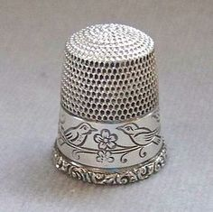 terling Silver Thimble with Birds, Simon Brothers