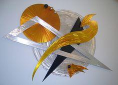 """TribalMoon"" contemporary wall sculpture by artist Tony Viscardi $895.00  48 x 38 www.ViscardiDesigns.com 502-419-6755"