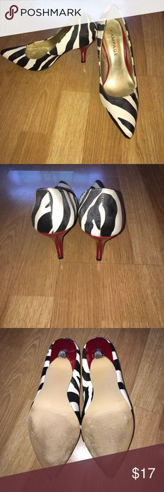 Rampage Zebra Pumps Cream and black zebra pattern with red heel. Heel is approx 3.5 inches- great condition! Rampage Shoes Heels