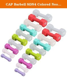 CAP Barbell SDN4 Colored Neoprene Hex Dumbbell Set - 1, 3, 5, 7, 9 lbs (5 pairs) - For Aerobic Workouts and Physical Therapy. Economy SDN4 Neoprene Covered Hexagonal Dumbbells by CAP Barbell - Buying your neoprene coated dumbbells by the set is definitely cheaper than buying by the single pair and CAP Barbell has configured each set into the most popular weights based on what customers ask for most. Each pair of dumbbells is completely encapsulated in brightly colored neoprene for easy...
