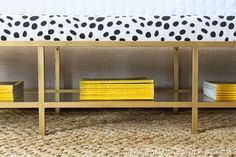 for my entryway??...Gold Upholstered Bench Tutorial ( hack from IKEA vittsjo TV unit )