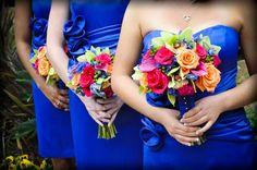 Modern Blue Green Orange Pink Red Bouquet Garden Spring Summer Wedding Flowers Photos & Pictures - WeddingWire.com