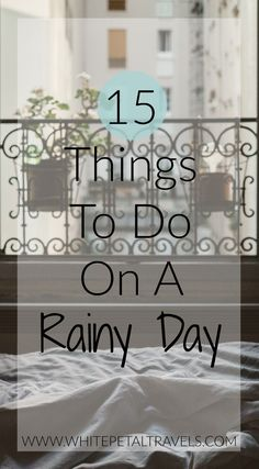 I don't know about you but I love a good rainy day! You can wear your comfiestclothes and bum around home all day relaxing. Heaven! If you ever find yourself wonderingwhat to do on a rainy day, have a look below for my favourite rainy day activities.  Read that book you keep putting off or finish the one your currently on. Have a nice toasty bubble bath. Have a movie marathon – chick flicks anyone?! Cook up a storm. Or if your more like me, bake up a storm! Binge watch your favourite show…