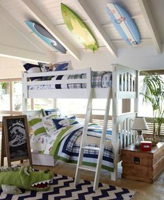 Matthew & William's bedroom at the beach house. I'm absolutely in love with this room & its decor, and Matthew & William love the bunk beds! Surf Bedroom, Kids Bedroom, Bedroom Decor, Bedroom Ideas, Extra Bedroom, Seaside Bedroom, Bedroom Bed, Bedroom Colors, Surfer Room