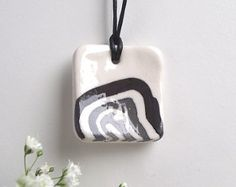 Items similar to Murrina Porcelain Necklace from Italy on Etsy Black And White, Christmas Ornaments, Holiday Decor, Unique Jewelry, Handmade Gifts, Ocean, Etsy, Vintage, Art