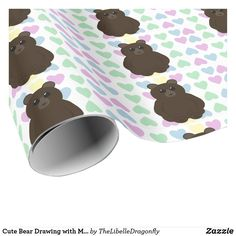 Cute Bear Drawing with Multicolored Hearts