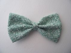 Green Floral Fabric Hair Bow, $4.50