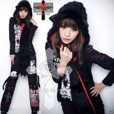 Visual Kei Gothic Noir Faux Fur Meow HOODY Claw Scarf   eBay
