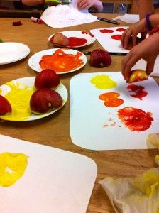 Let's Get Apple Stamping! Great fall craft project for kids. I'm turning mine into wrapping paper.