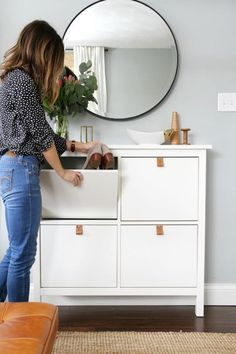 Ikea 'Hemnes' shoe cabinet hack with leather pulls Ikea Hemnes Shoe Cabinet, Armoire Ikea, Shoe Dresser, Shoe Storage Solutions, Entryway Shoe Storage, Entryway Ideas, Storage Ideas, Diy Storage, Ikea Entryway