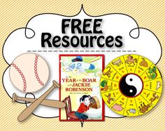 Hit a Home Run: In the Year of the Boar and Jackie Robinson. Kick off Chinese New Year and Black History Month with the novel, In the Year of the Boar and Jackie Robinson. Hit a home run with Common Core State Standards extensions and free resources! First Grade Activities, Book Activities, Free Teaching Resources, Reading Resources, Teacher Resources, Teaching Ideas, Year Of The Boar, School Projects, History Projects