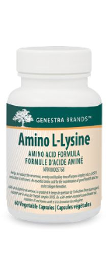 Amino L-Lysine by Genestra - contains this essential amino acid to assist in the formation of collagen and to help reduce the recurrence of herpes simplex virus (HSV) infection (e.g. cold sores).