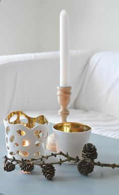 Gold interior candle cups. Scandinavian Christmas Style