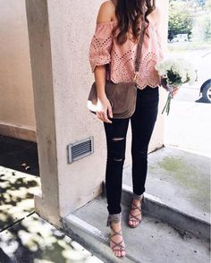 Pink eyelet off the shoulder top. Feminine style. Pink off shoulder top with black distressed skinny jeans. Chloe Hanna Bag. Spring style. Spring outfit. Pink spring outfit. Tassel strappy sandals