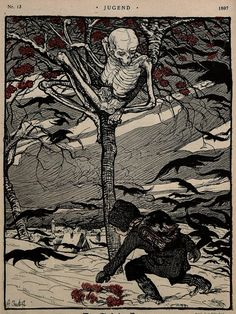 "Illustration by Angelo Jank in the German art magazine Jugend, No. 13, 1897: ""Der Tod im Baum."""