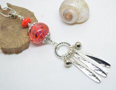 sautoir 76 cm perles verre filé au chalumeau rose et orange chaine argent 925 ! : Collier par liloo-creations