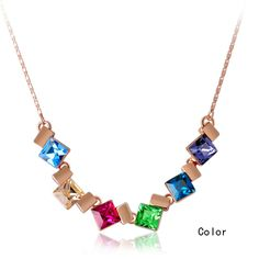Sweet Colorful Girl Square Link Necklace
