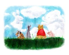 Winnie Pooh Art Print - 100 Acre Wood - Tigger - Piglet - Eeyore - Nursery Art -Archival Print. $28.00, via Etsy.