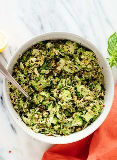 This mayo-free quinoa broccoli slaw recipe is a fun twist on an old classic! It's vegan and gluten free, too. cookieandkate.com