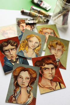 OOAK 8 Aceo characters from Emily Brontes by MrsPeggottyArts
