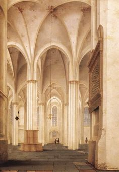 Painting of the interior of the Buurkerk in Utrecht, The Netherlands by the Dutch painter Pieter Jansz. Saenredam. Beautiful capture of a typical protestant church in the Northern Netherlands in the 17th century.