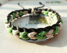 Christmas Gift Tiny Style Green and White Cotton Cord Nature Black Leather Braid with Special knot Adjustable Wrap Bracelet S-21